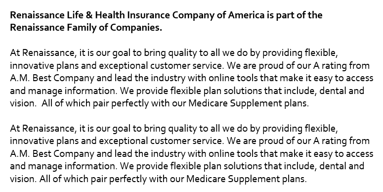 About Renaissance Life & Health Insurance Company of America